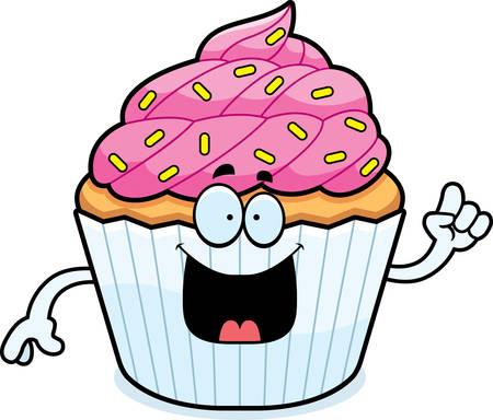 patty cake: A cartoon illustration of a cupcake with an idea.