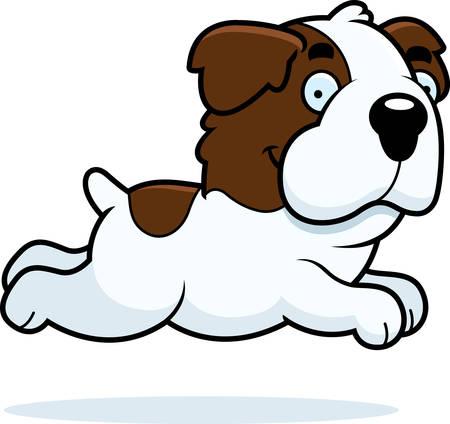 st bernard dog: A cartoon illustration of a Saint Bernard running. Illustration