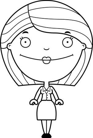 zakelijke vrouw: A cartoon illustration of a business woman looking happy. Stock Illustratie