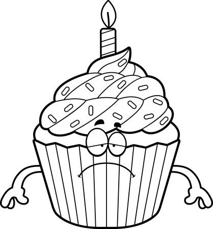 A cartoon illustration of a birthday cupcake looking sad. Illusztráció