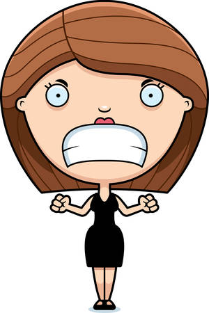 A cartoon illustration of a woman in a black dress looking angry.