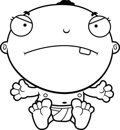 cranky: A cartoon illustration of a baby boy looking mad.