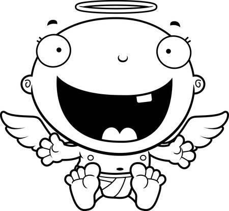 baby angel: Un fumetto illustrazione di un angelo bambino che sembra felice. Vettoriali