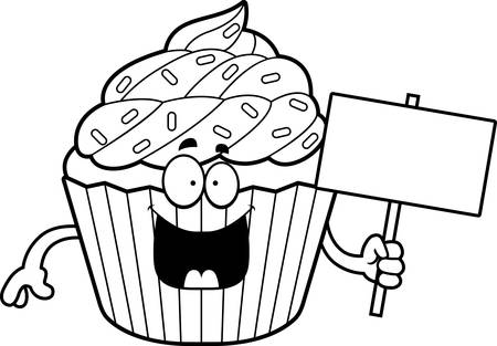 patty: A cartoon illustration of a cupcake holding a sign. Illustration