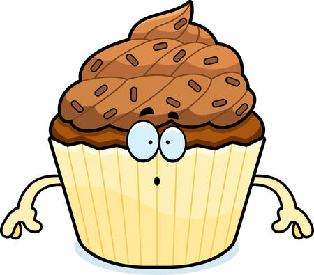 chocolate cupcake: A cartoon illustration of a chocolate cupcake looking surprised.