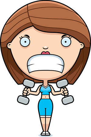 lifting weights: A cartoon illustration of a woman lifting weights looking angry.