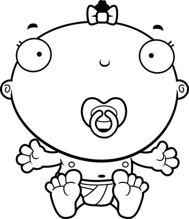 baby girl: A cartoon illustration of a baby girl with a pacifier. Illustration