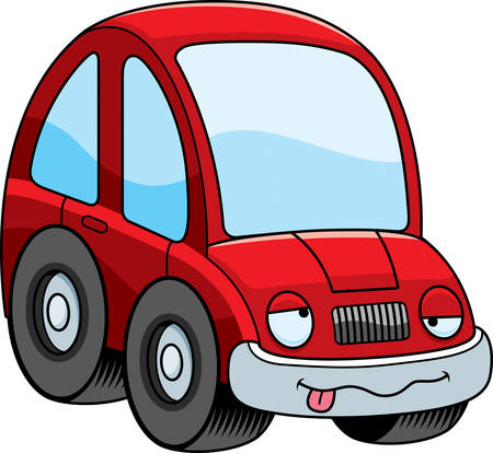 A cartoon illustration of a car looking drunk. Ilustração