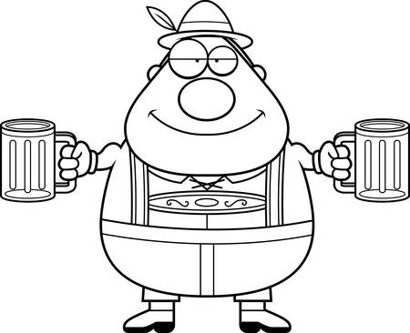 lederhosen: A cartoon illustration of a German man in lederhosen drinking beer.
