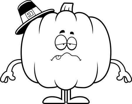nauseous: A cartoon illustration of a pumpkin pilgrim looking sick. Illustration
