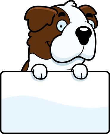 st bernard dog: A cartoon illustration of a Saint Bernard with a sign. Illustration