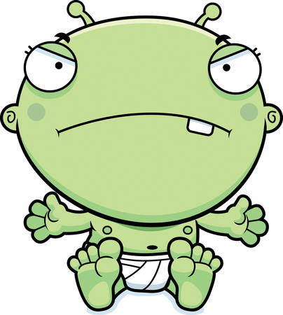 cranky: A cartoon illustration of a baby alien looking mad.