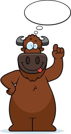 A cartoon illustration of a buffalo thinking. Illustration