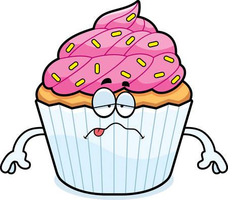 nauseous: A cartoon illustration of a cupcake looking sick.