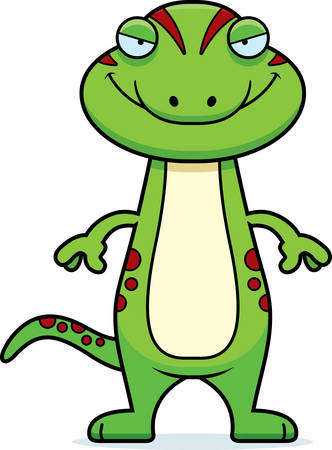 sly: A cartoon illustration of a gecko with a sly expression.