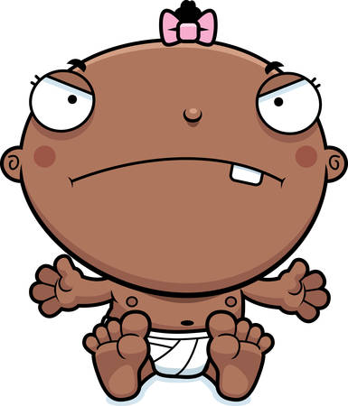 cranky: A cartoon illustration of a baby girl looking mad.