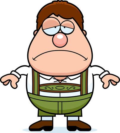 lederhosen: A cartoon illustration of a German boy in lederhosen looking sad.