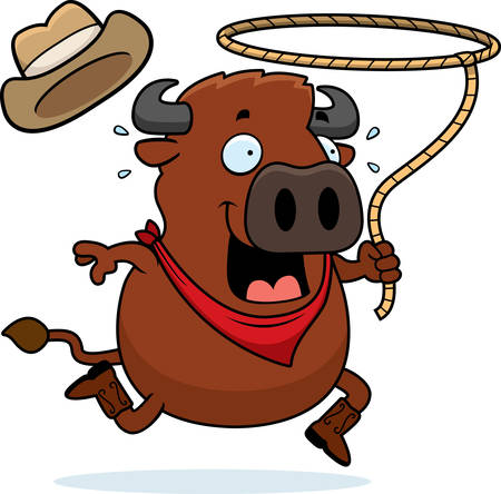 A cartoon illustration of a buffalo running with a lasso.
