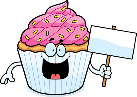 cupcake illustration: A cartoon illustration of a cupcake holding a sign. Illustration