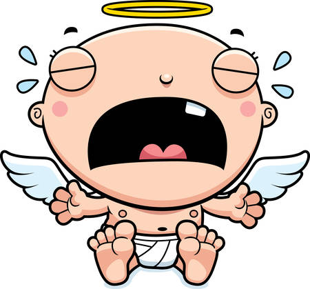 A cartoon illustration of a baby angel crying.