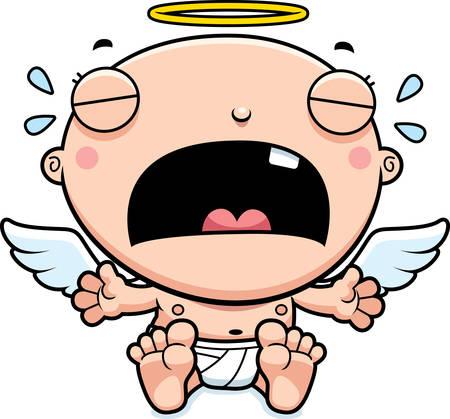 angeles bebe: Un ejemplo de la historieta de un ángel bebé llorando.