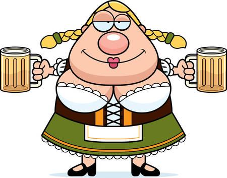 맥주를 마시는 옥 토 버 페스트 여자의 만화 그림. 일러스트
