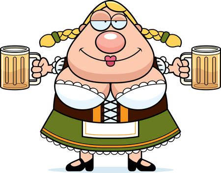 A cartoon illustration of a Oktoberfest woman drinking beer.