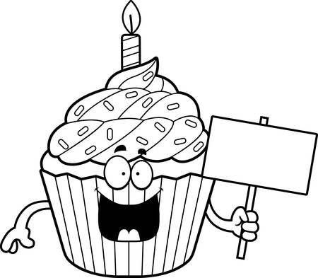 A cartoon illustration of a birthday cupcake holding a sign.