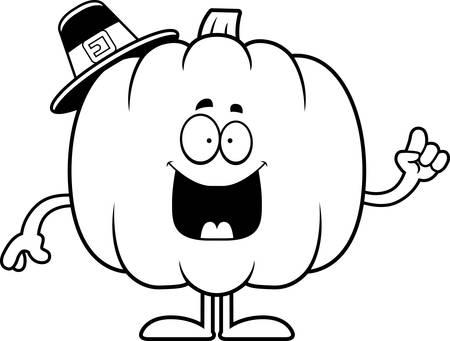 pilgrim: A cartoon illustration of a pumpkin pilgrim with an idea.