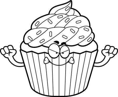 A cartoon illustration of a cupcake looking angry.