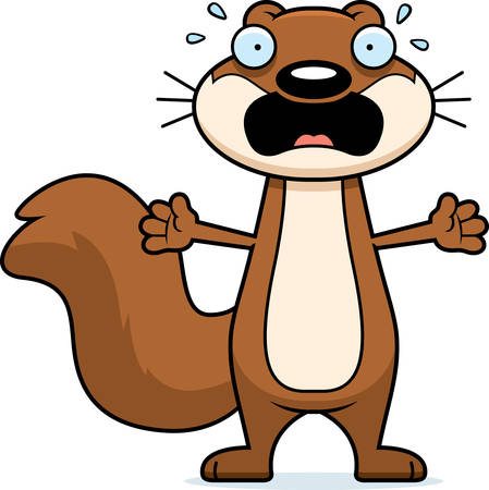 A cartoon illustration of a squirrel looking scared. 일러스트