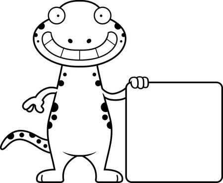 Eine Karikaturillustration eines Salamanders mit einem Schild. Standard-Bild - 44393268