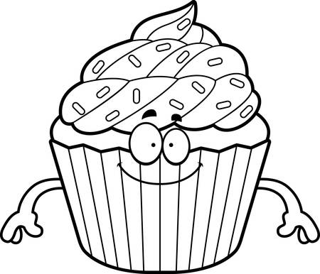 A cartoon illustration of a cupcake looking happy.