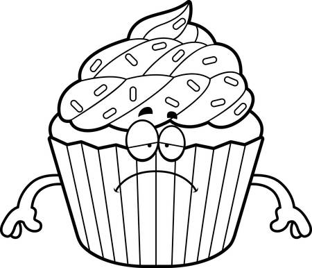A cartoon illustration of a cupcake looking sad.