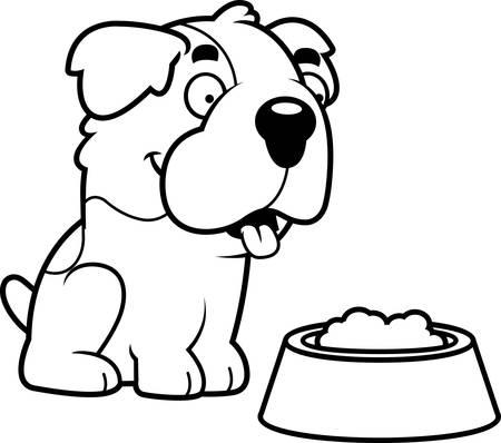 bernard: A cartoon illustration of a Saint Bernard with a bowl of food. Illustration