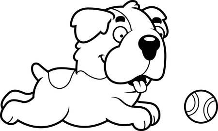 st bernard dog: A cartoon illustration of a Saint Bernard chasing a ball.