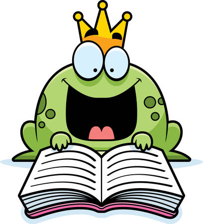 A cartoon illustration of a frog prince reading a book. Ilustração