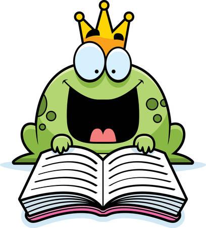 sapo principe: Una ilustración de dibujos animados de un príncipe rana leyendo un libro. Vectores