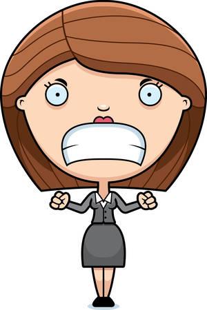 女性実業家: 眉根を寄せた女性実業家の漫画イラスト。