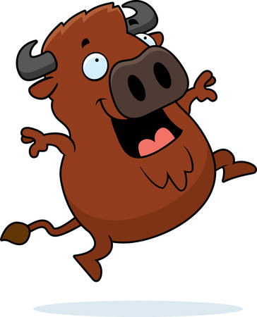 A cartoon illustration of a buffalo jumping and smiling.