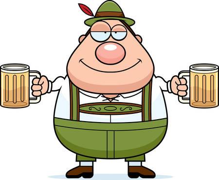 lederhosen: A cartoon illustration of a German man in lederhosen drinking beer.