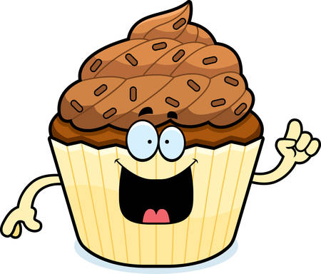 patty cake: A cartoon illustration of a chocolate cupcake with an idea.