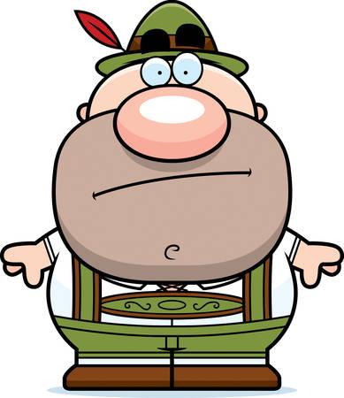 lederhosen: A cartoon illustration of a German man in lederhosen looking bored.