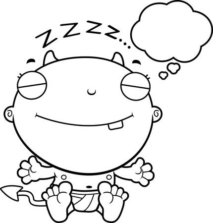 though: A cartoon illustration of a baby devil dreaming.