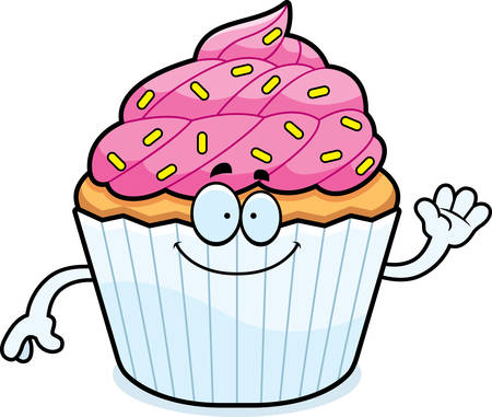 patty cake: A cartoon illustration of a cupcake waving.