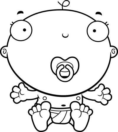 A cartoon illustration of a baby boy with a pacifier.