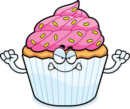 patty cake: A cartoon illustration of a cupcake looking angry.