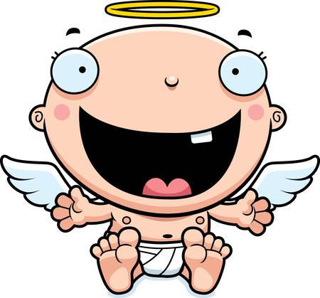 A cartoon illustration of a baby angel looking happy. Vectores