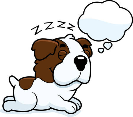 st bernard: A cartoon illustration of a Saint Bernard sleeping and dreaming.