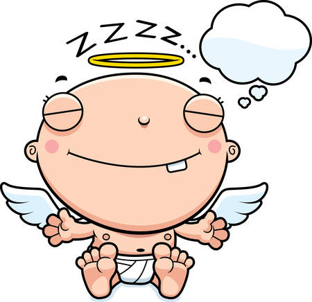 though: A cartoon illustration of a baby angel dreaming.